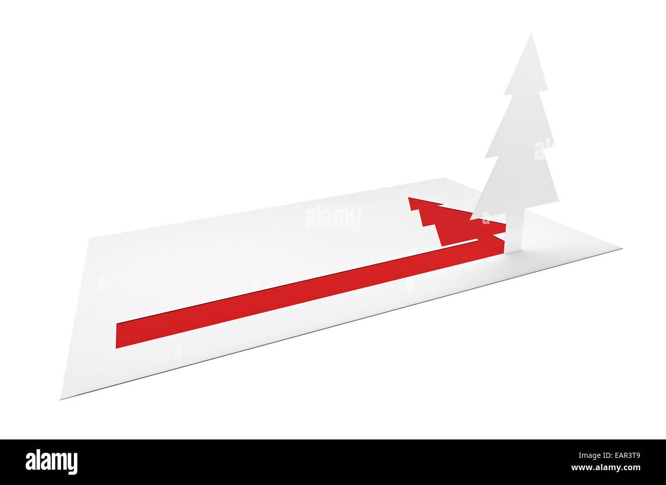 Vacances de Noël la lettre de félicitations avec du pin et du papier copie vierge-espace sur fond blanc Photo Stock