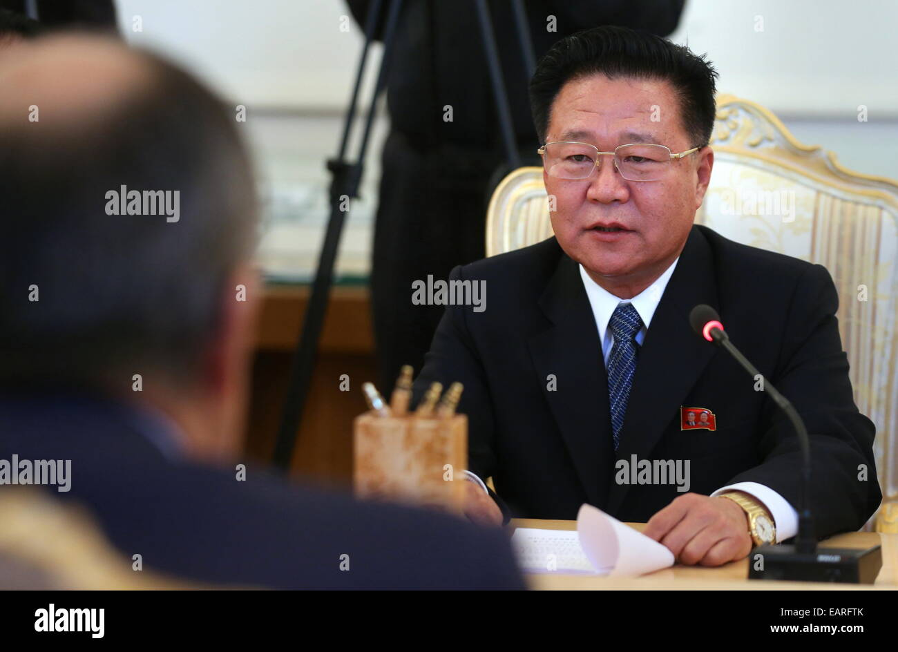 Moscou, Russie. 20 Nov, 2014. Choe Ryong Hae, membre du Présidium du Parti des travailleurs de la République Photo Stock