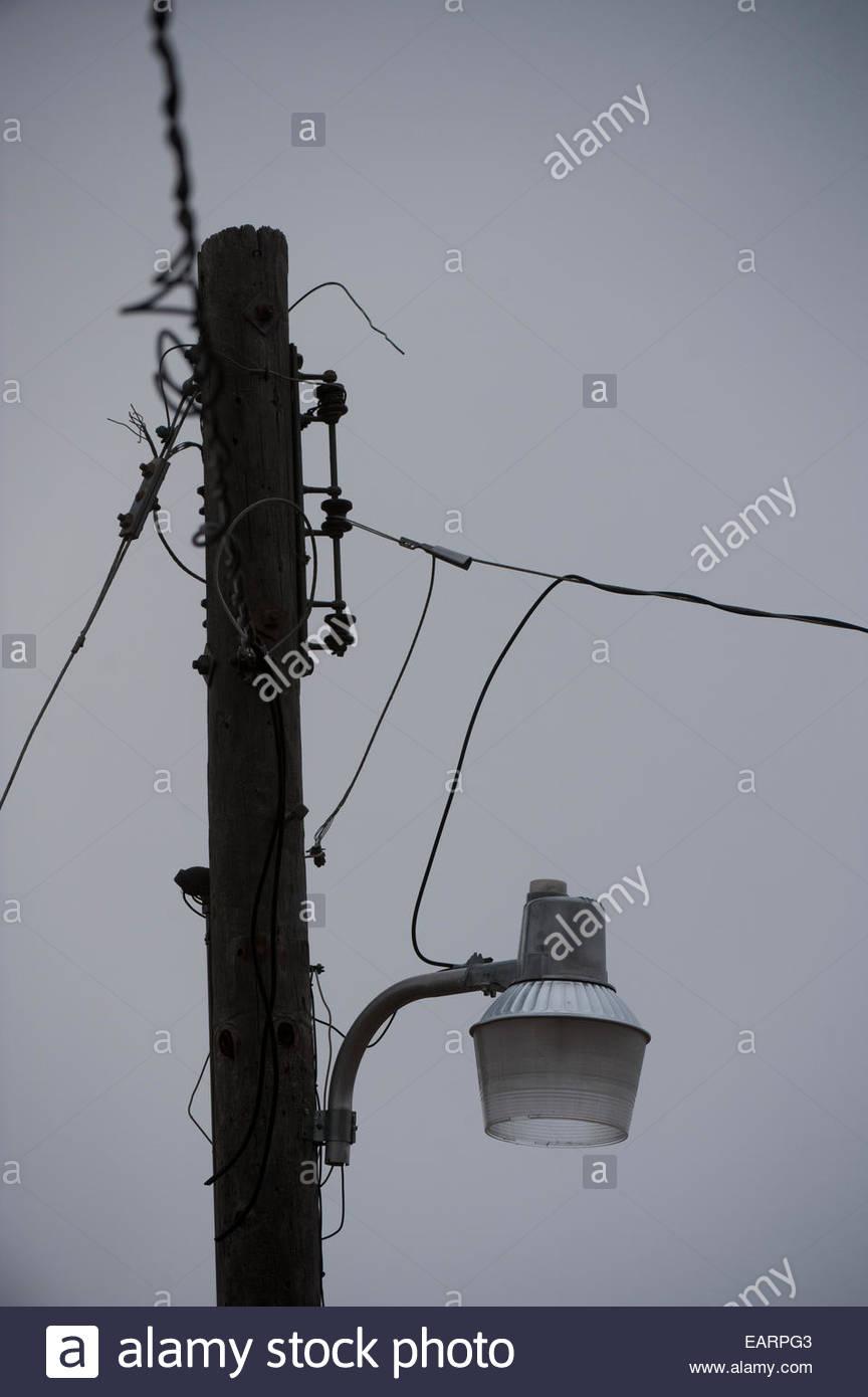 Un lampadaire comme vu sur une morne journée. Photo Stock