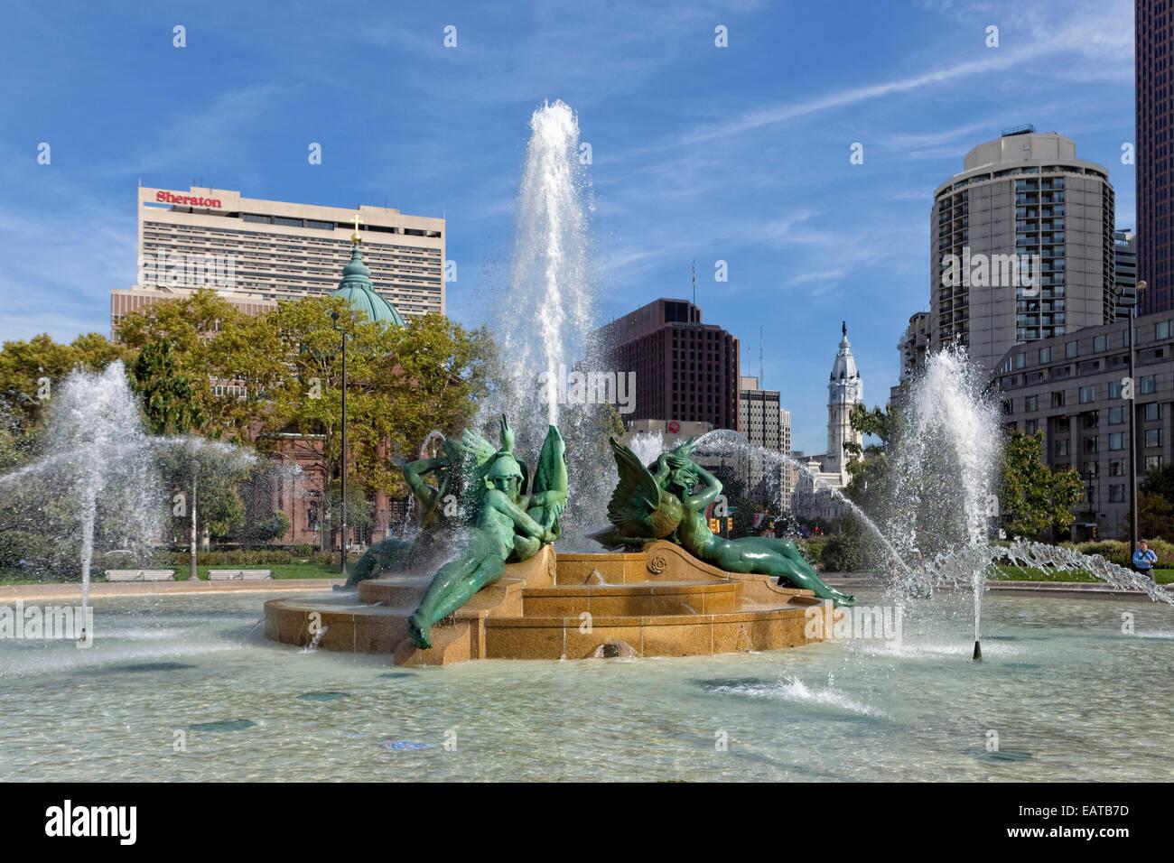 Le Swann Memorial Fountain est situé dans la région de Logan Circle, Philadelphie, Pennsylvanie. Aussi Photo Stock