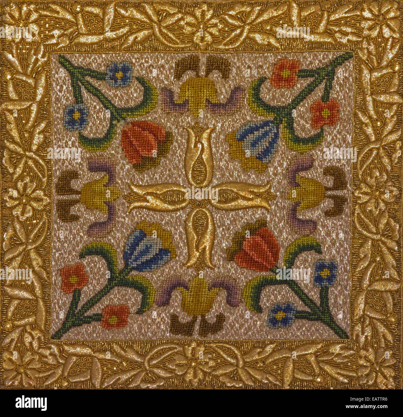 Bratislava - Le needelwork symbolique sur l'objet sacré (Bursa) à partir de 19. 100. à st. Martins Photo Stock