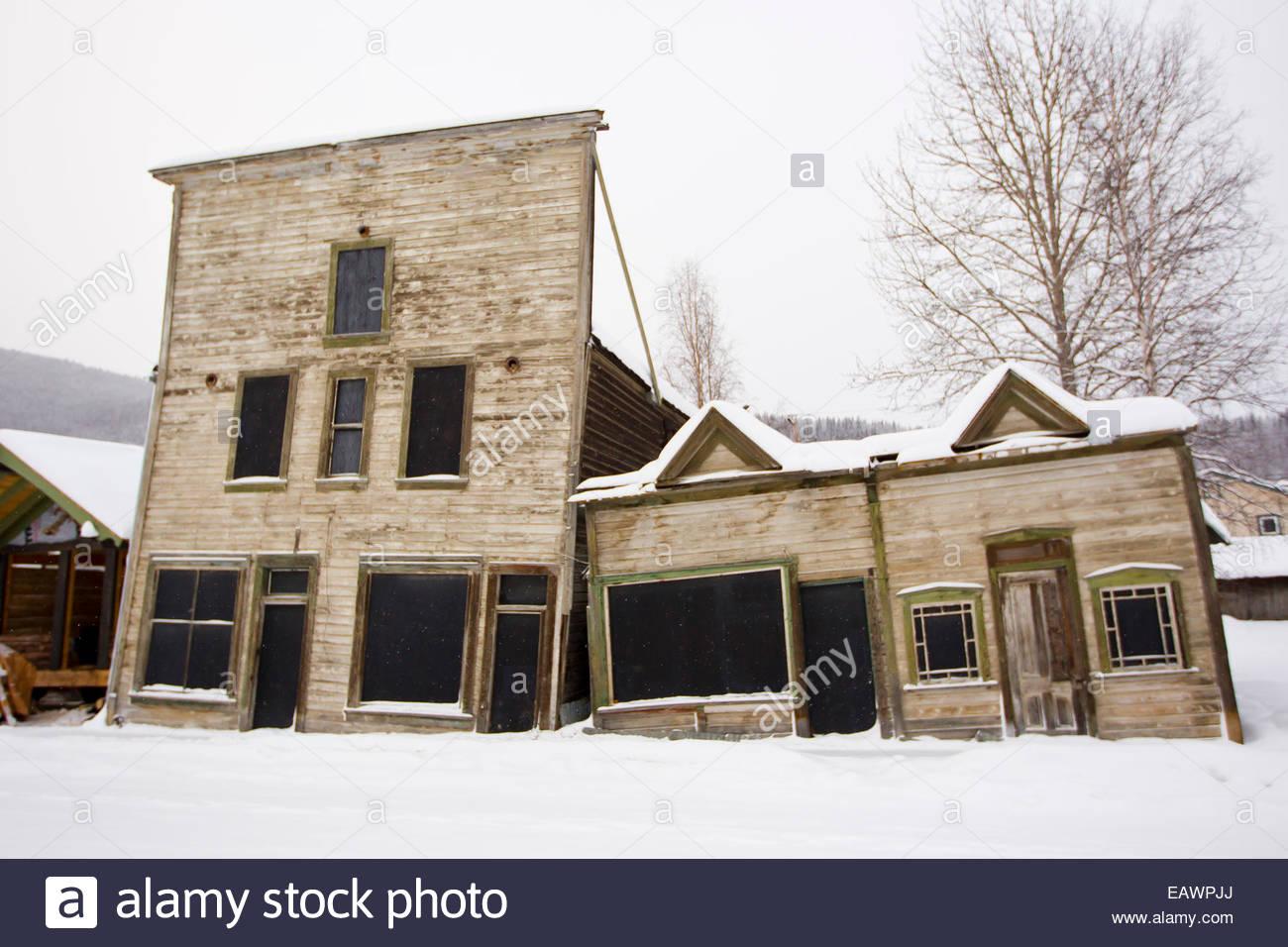 La 3ème Avenue historique bâtiments complexes, datée du 1901, à Dawson City, Canada. Photo Stock