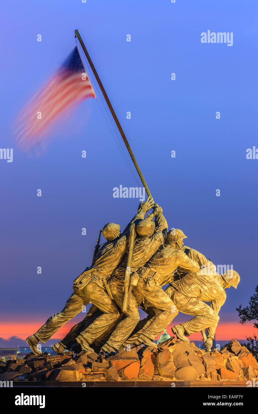 US Marine Corps War Memorial, également connu sous le nom de Mémorial Iwo-Jima à Arlington, Virginia, Photo Stock