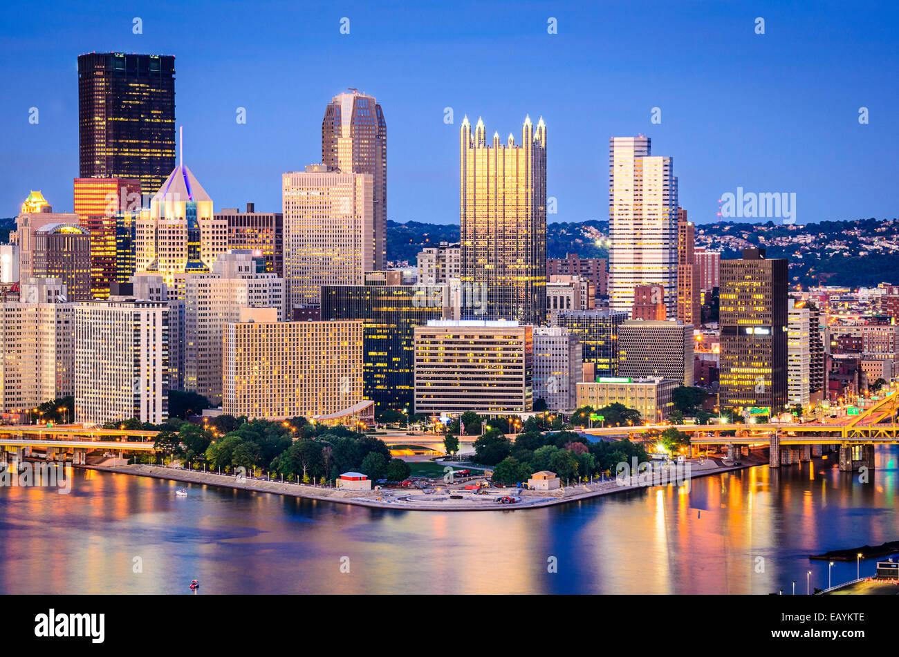 Pittsburgh, Pennsylvanie, USA sur le centre-ville. Photo Stock