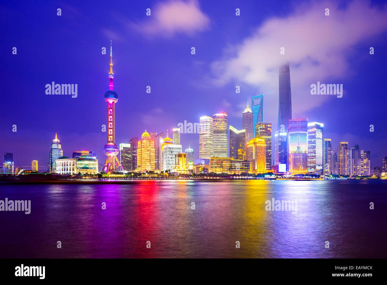 Shanghai, Chine sur les toits de la ville du Quartier Financier de Pudong. Banque D'Images