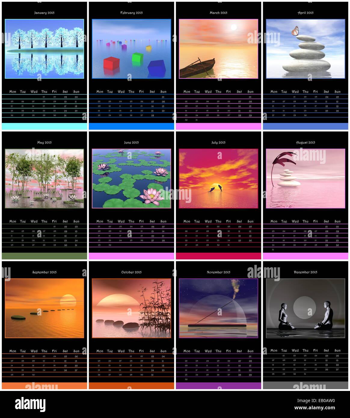 Calendrier de l'année européenne 2015 avec semaine à partir de lundi et les images zen Banque D'Images