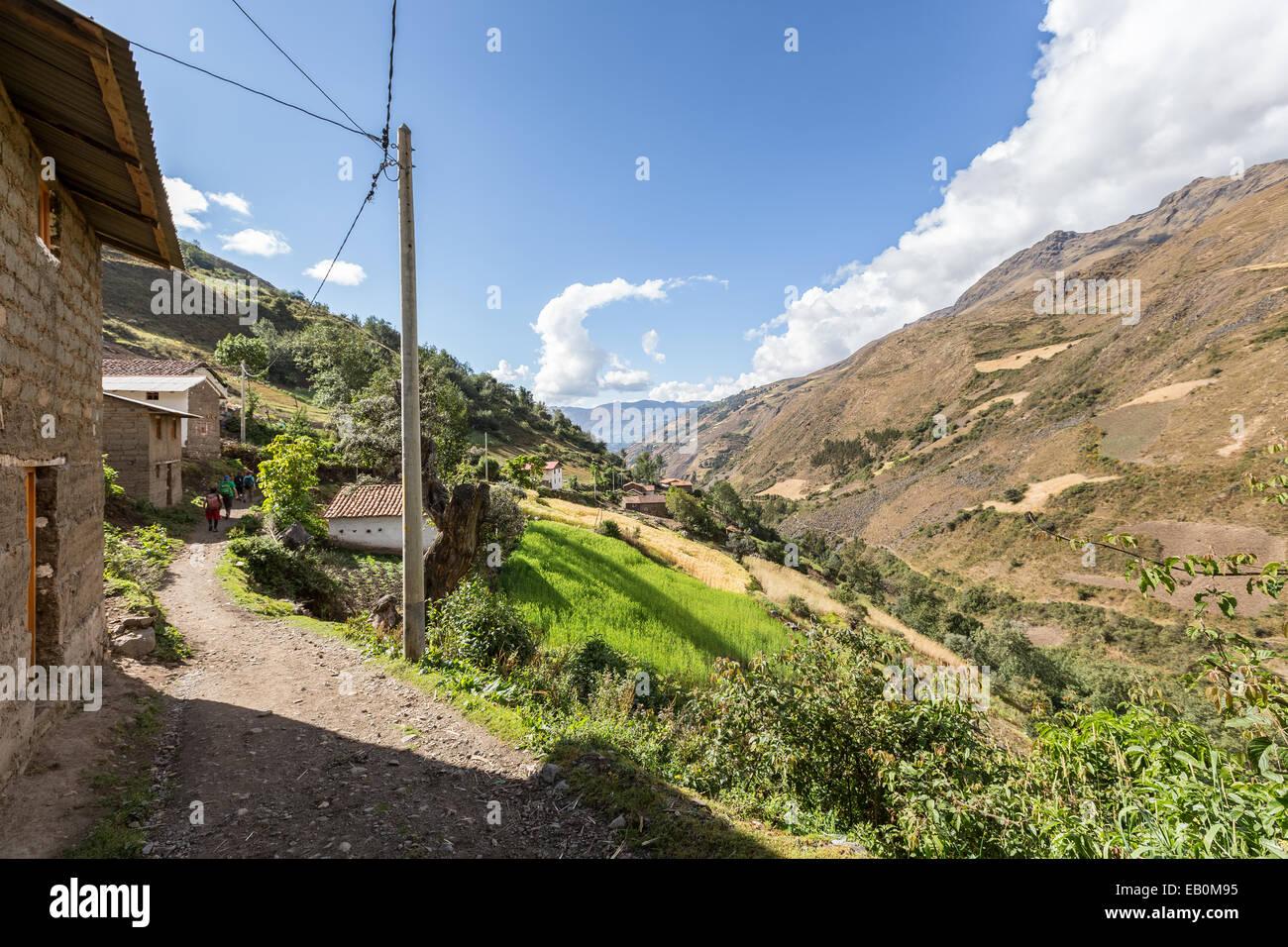 Santa Cruz, trek Cordillère Blanche, les Andes, le Pérou, Amérique du Sud Photo Stock