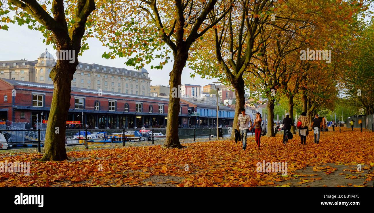 Bristol, Angleterre - Octobre 31st, 2014: Golden Autumn Leaves fall sur Narrow Quay en plus de la zone de Photo Stock