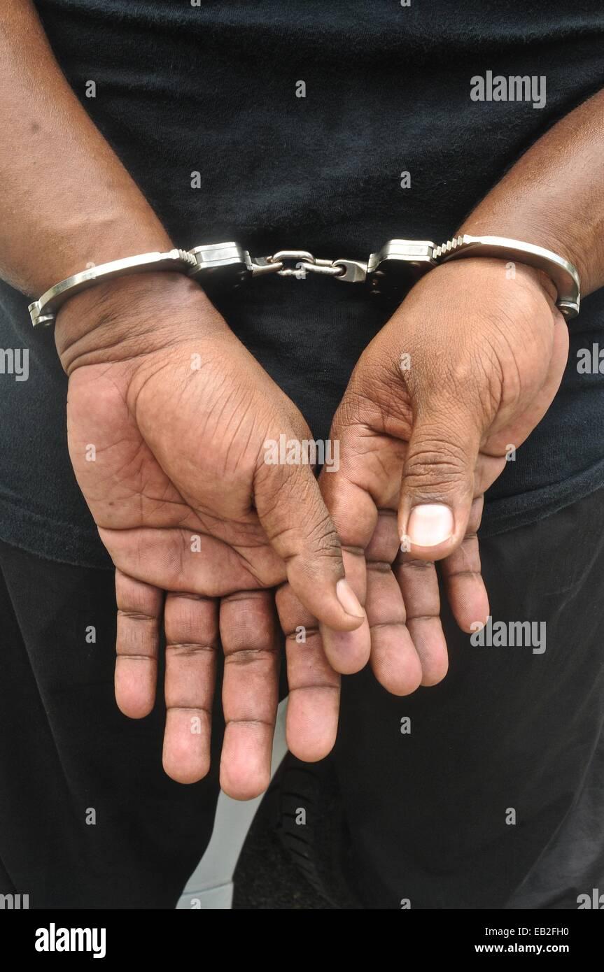 La pratique d'une arrestation à un cours de formation tactique et d'armes à feu à l'Académie Photo Stock