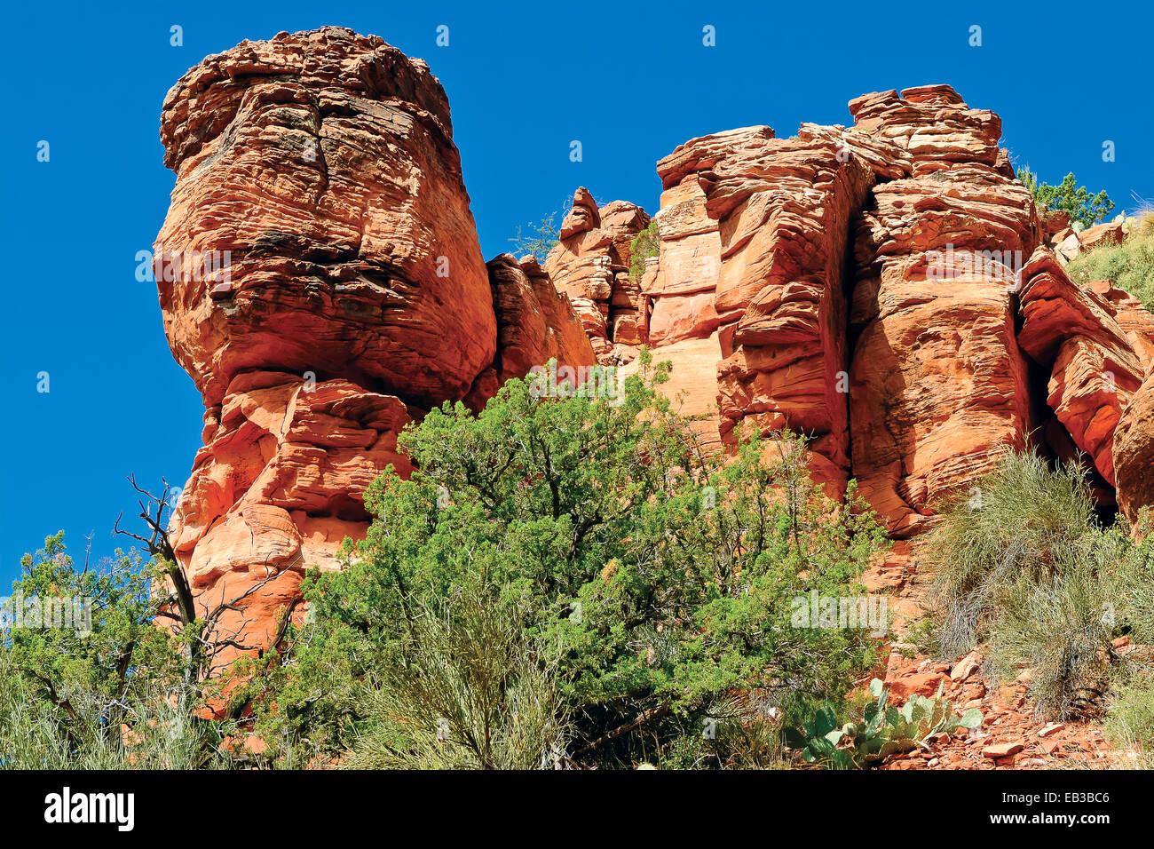 USA, Arizona, Yavapai Comté, Sedona, Vue de face brûlée de Bear Mountain Photo Stock