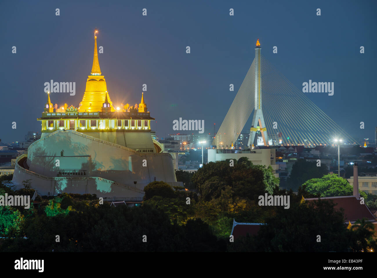 Le Mont d'or. Billet Vue de Bangkok, Thaïlande Photo Stock