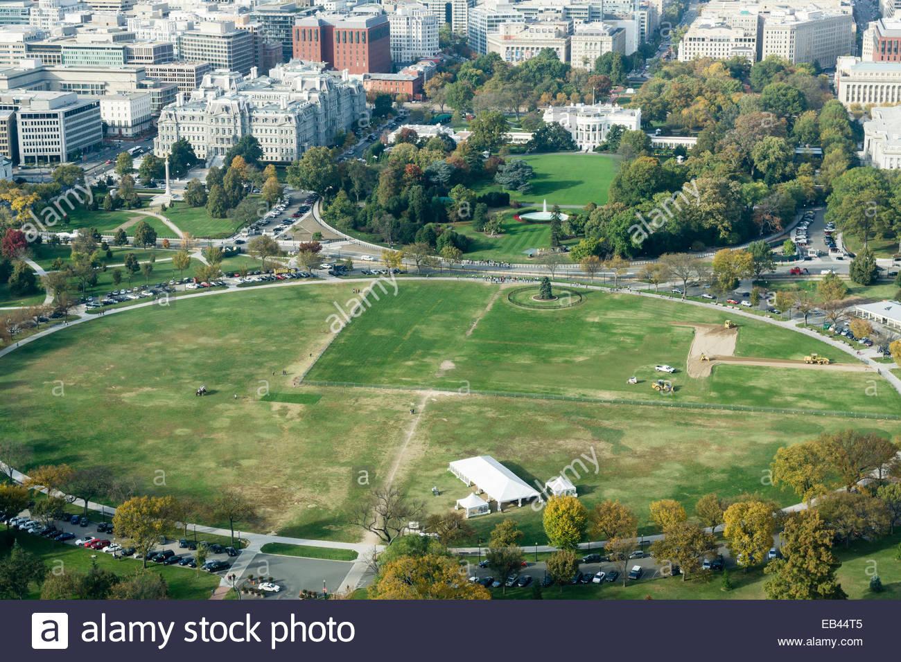 Vue aérienne de la Maison Blanche, Ellipse, et Old Executive Office Building à Washington DC Photo Stock