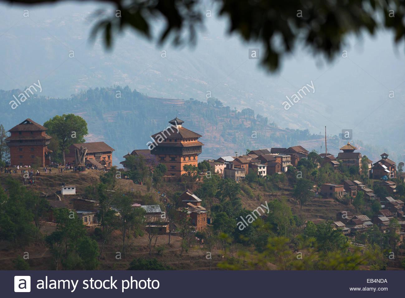 Historique Le village Newari de Nuwakot au Népal Photo Stock