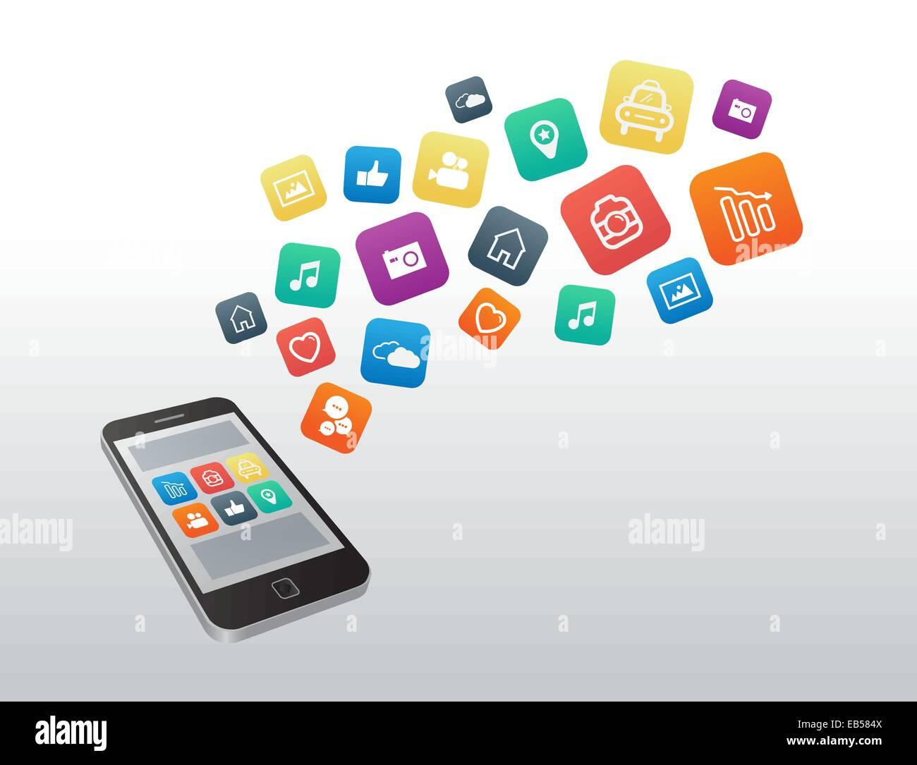 Les icônes des applications du smartphone flottante Photo Stock