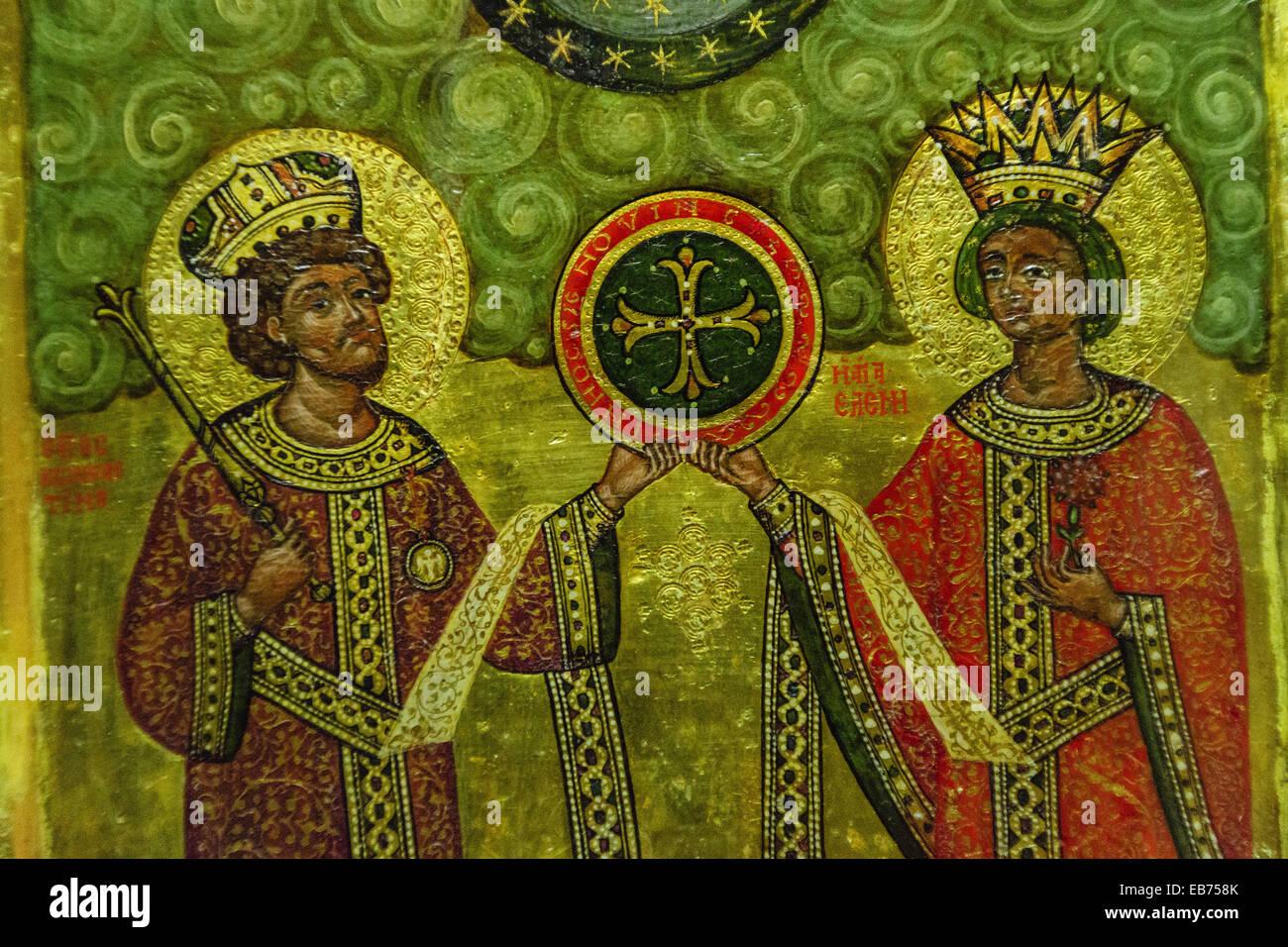 Constantine et Sainte-hélène découvrez la croix, tempera sur bois, 10e siècle, Museu de Évora, Photo Stock