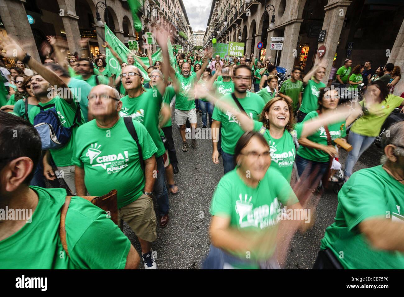 Manifestation contre la politique du gouvernement pour l'éducation, rue Jaime III, Palma.Mallorca.Islas Photo Stock