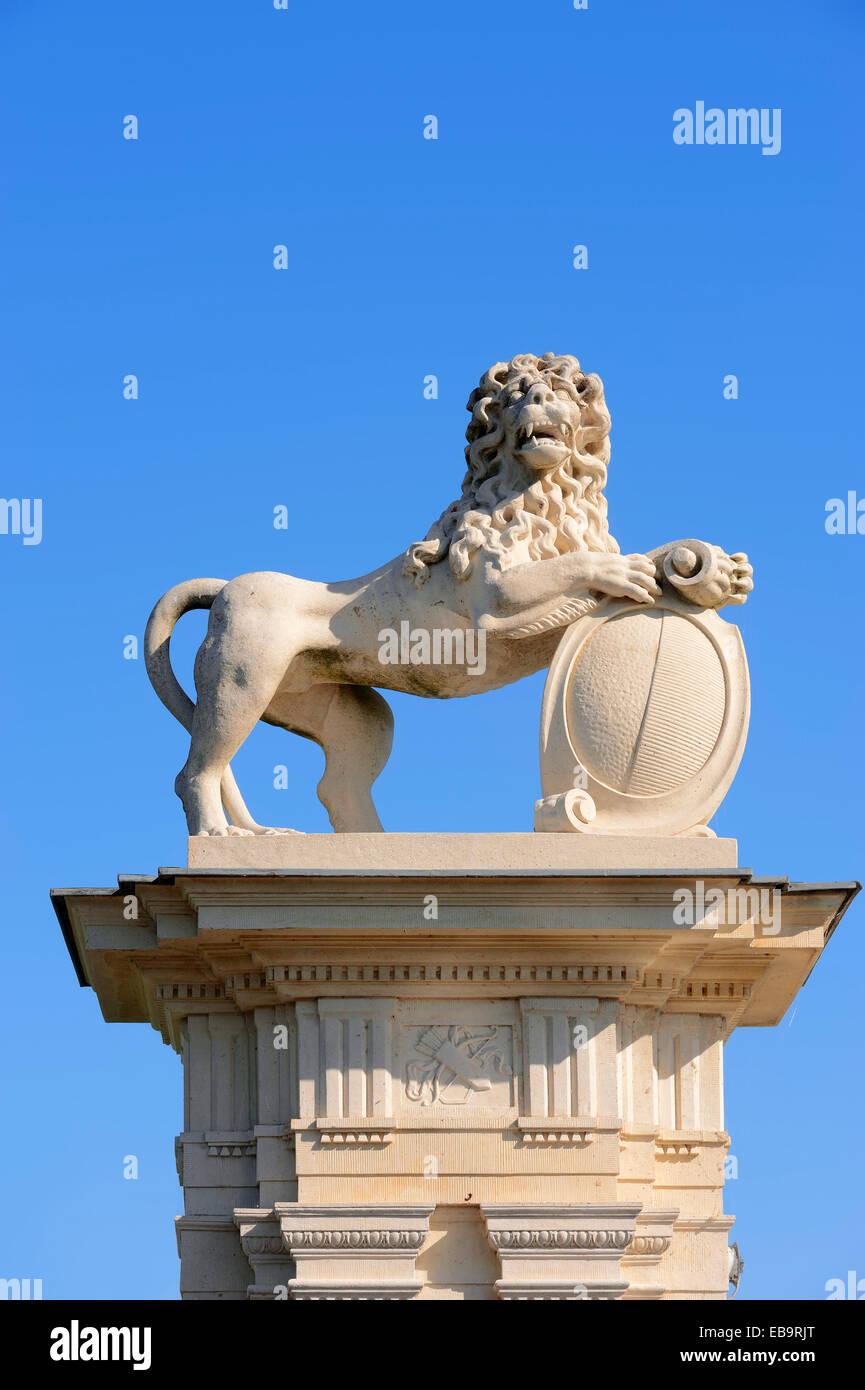Lion sculpture, Donderberg palace, un château baroque pouvant accueillir Fachhochschule für Finanzen NRW University Banque D'Images