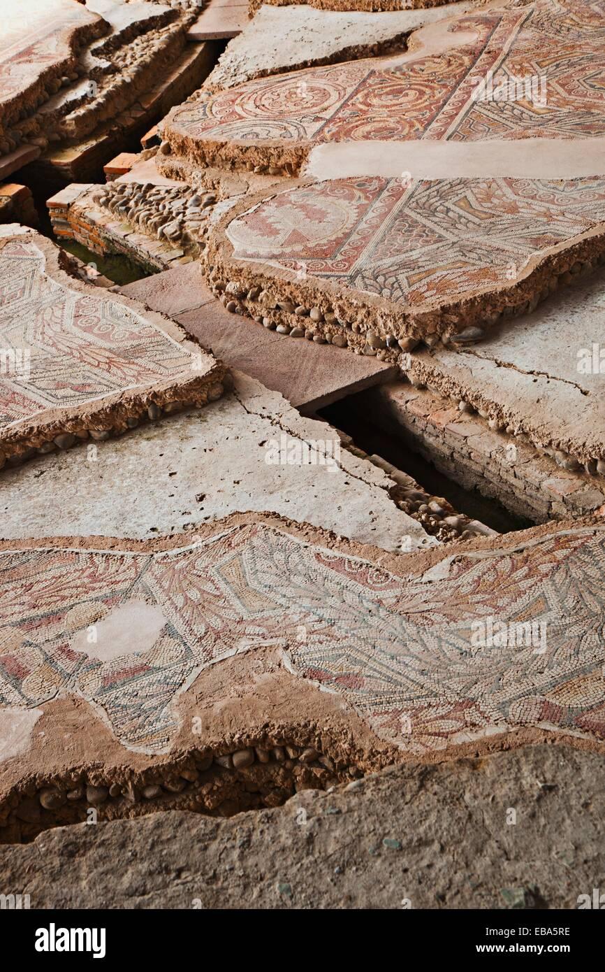 Ville romaine de La Olmeda IV siècle D C mosaïque romaine géométrique Pedrosa de la Vega Palencia Photo Stock