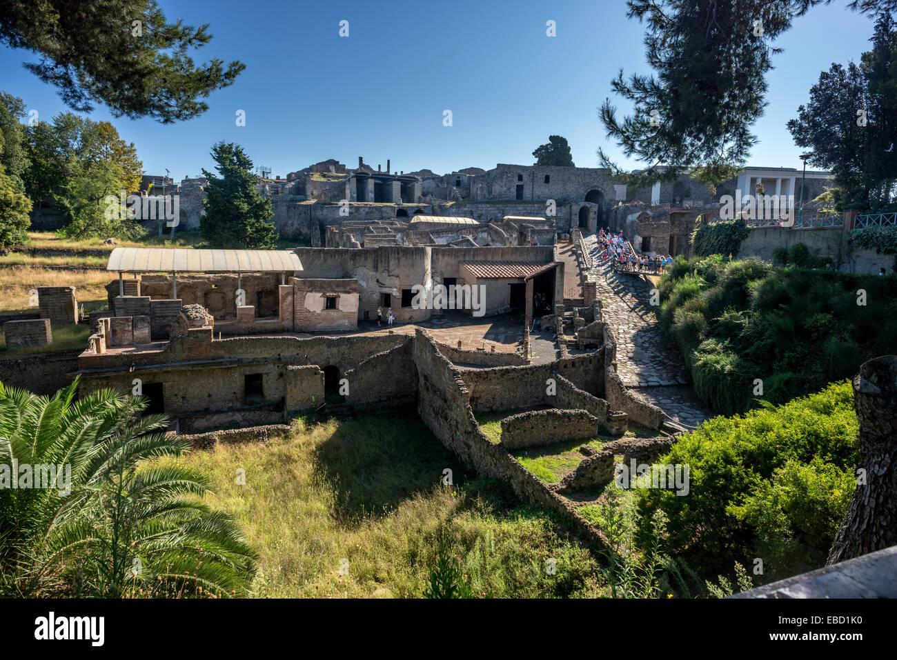 L'ancienne ville abandonnée de Pompéi, dans la baie de Naples. Photo Stock