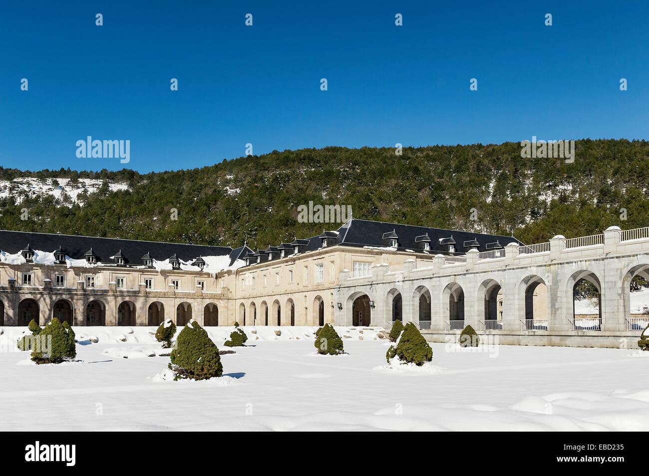 L'Abbaye Bénédictine de la Sainte Croix de la Vallée des Morts, Guadarrama, Espagne Photo Stock