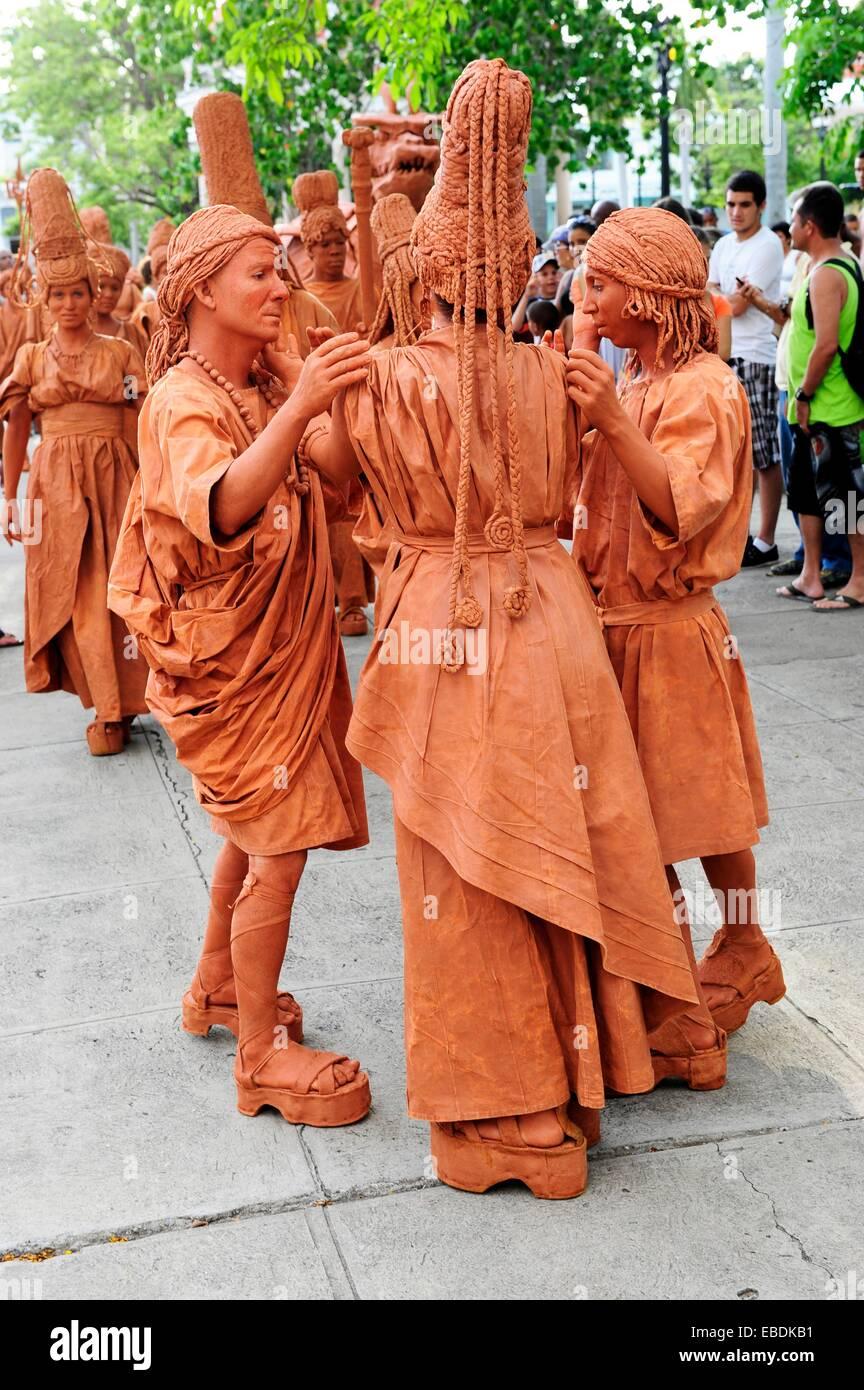 Performance Art Body Art à Cienfuegos, Cuba Photo Stock