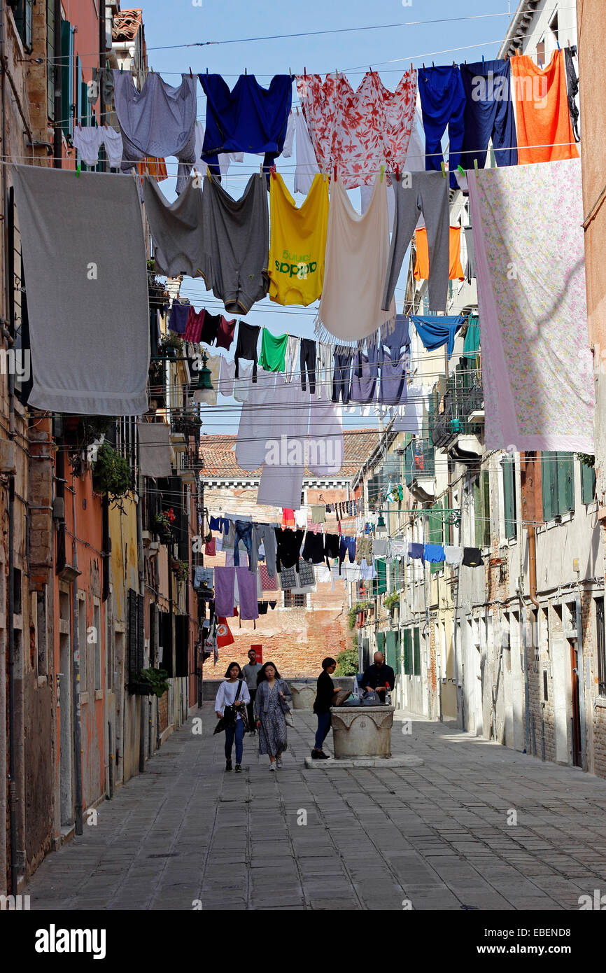 Italie Venise Castello laundry day Photo Stock