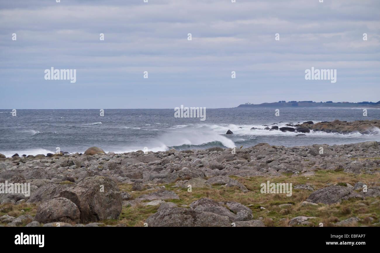 Automne ou hiver tempêtes sur Jæren, côte ouest de la Norvège près de Stavanger vagues se brisant sur les rochers Banque D'Images