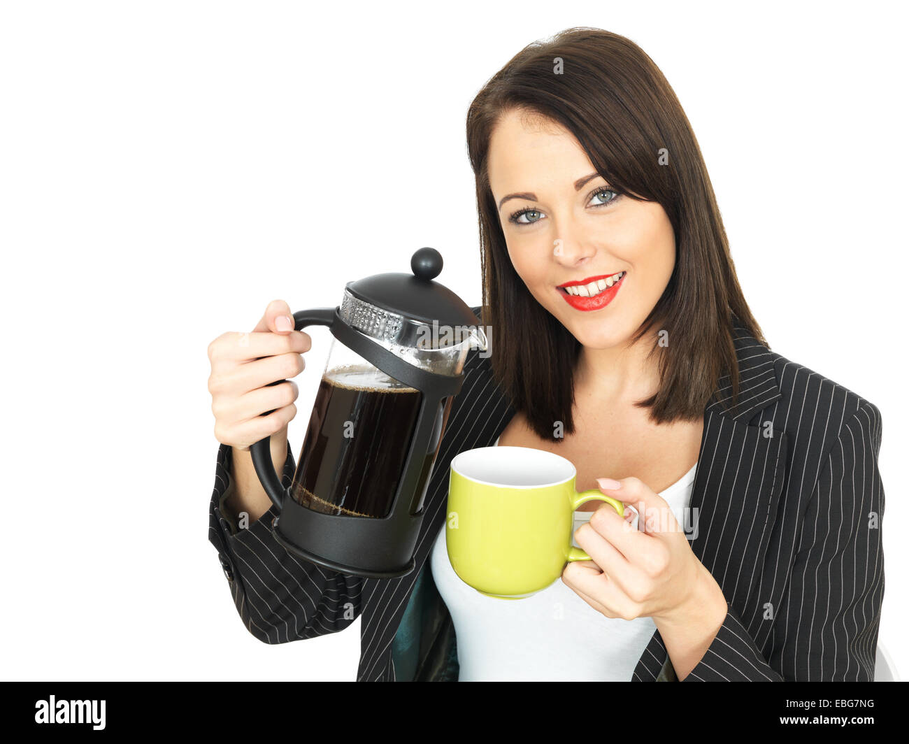 Attractive Woman pouring coffee Banque D'Images