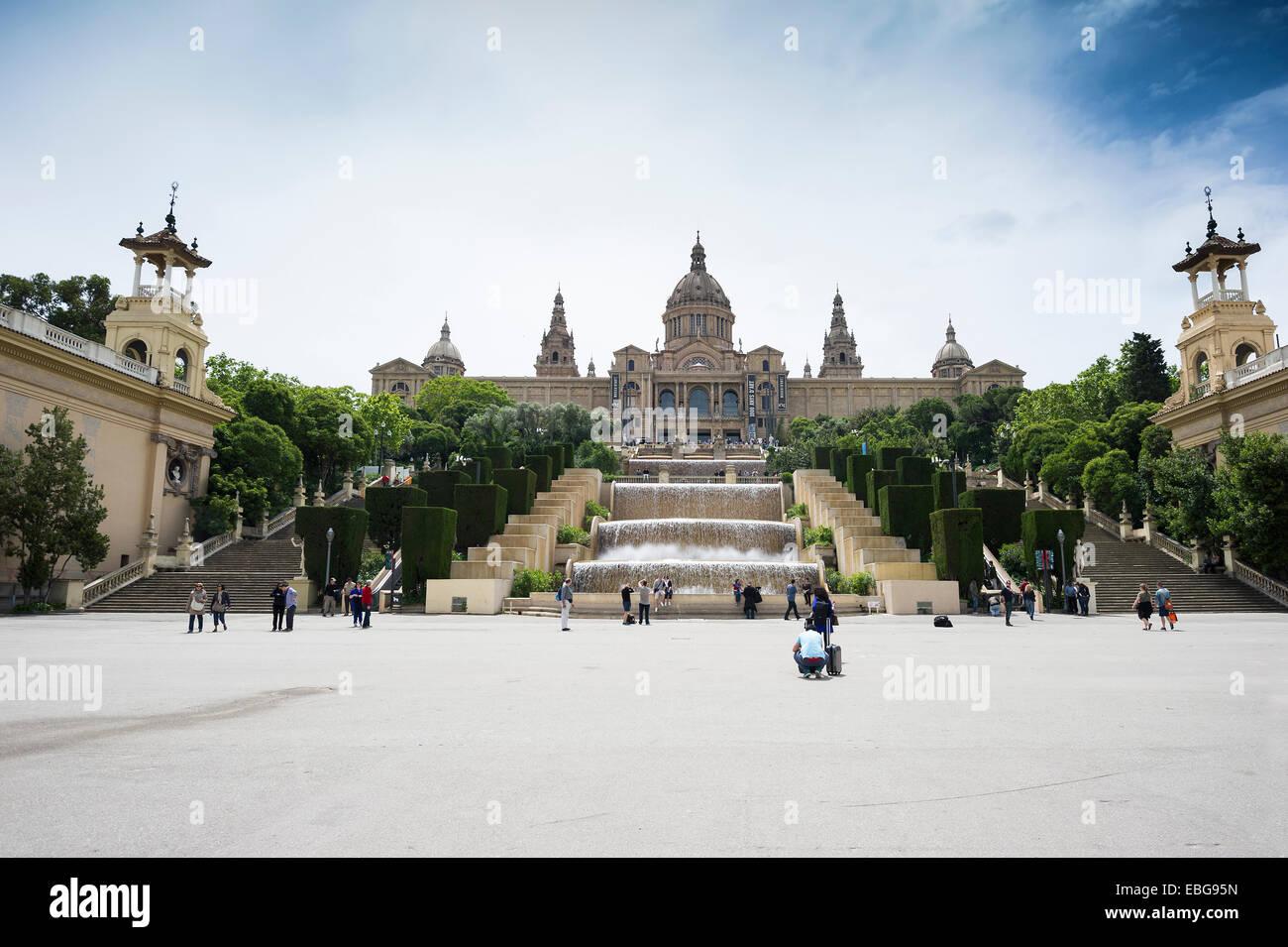 El Palacio National, le Musée National d&#39;Art de Catalunya, Barcelone, Catalogne, Espagne Photo Stock