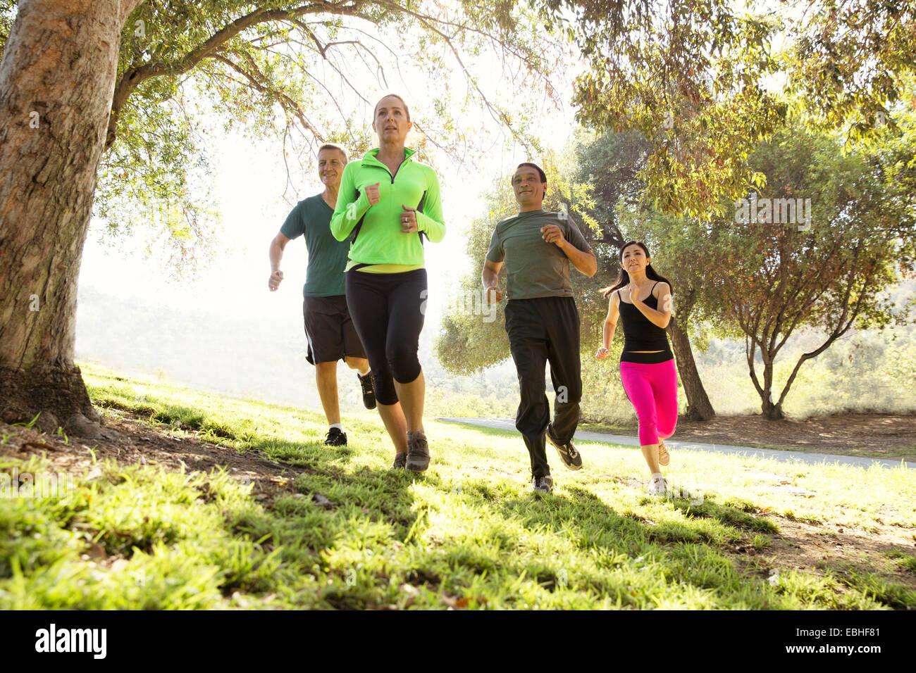 Quatre hommes et femmes matures running in park Photo Stock