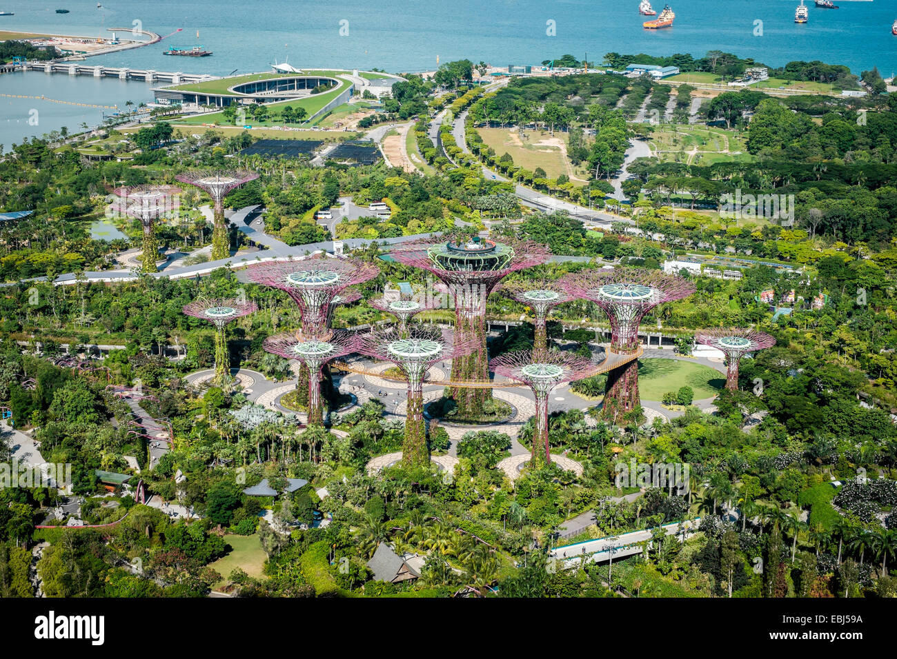 Jardin près de la baie de la ville de Singapour Photo Stock
