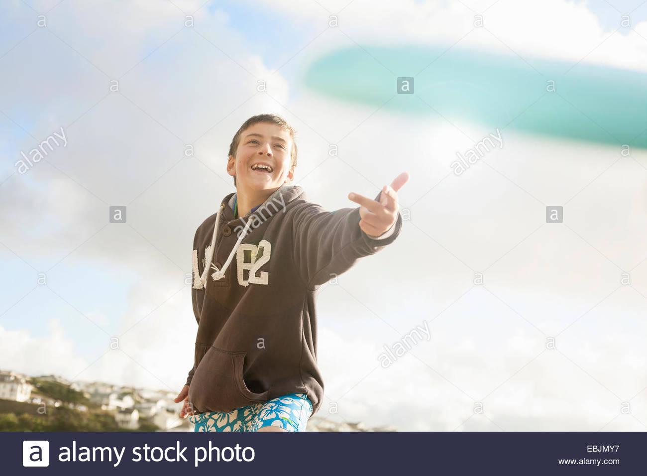 Boy wearing sweater, smiling Photo Stock