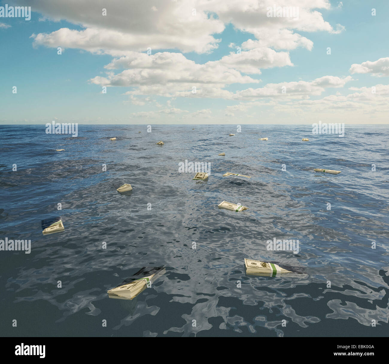 Grand groupe De one hundred dollar bill stacks flottant sur la mer de surface Photo Stock
