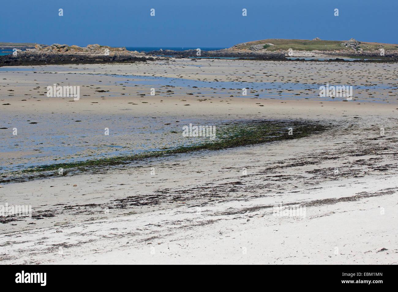 Segment de plage à marée basse, France, Bretagne, Océan Atlantique Banque D'Images