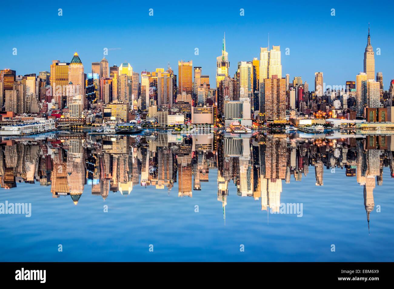 La ville de New York, USA city skyline de Manhattan. Photo Stock