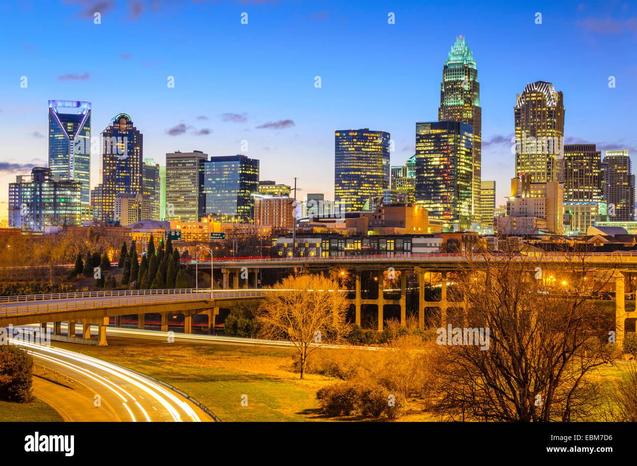Charlotte, Caroline du Nord, USA sur le centre-ville. Photo Stock