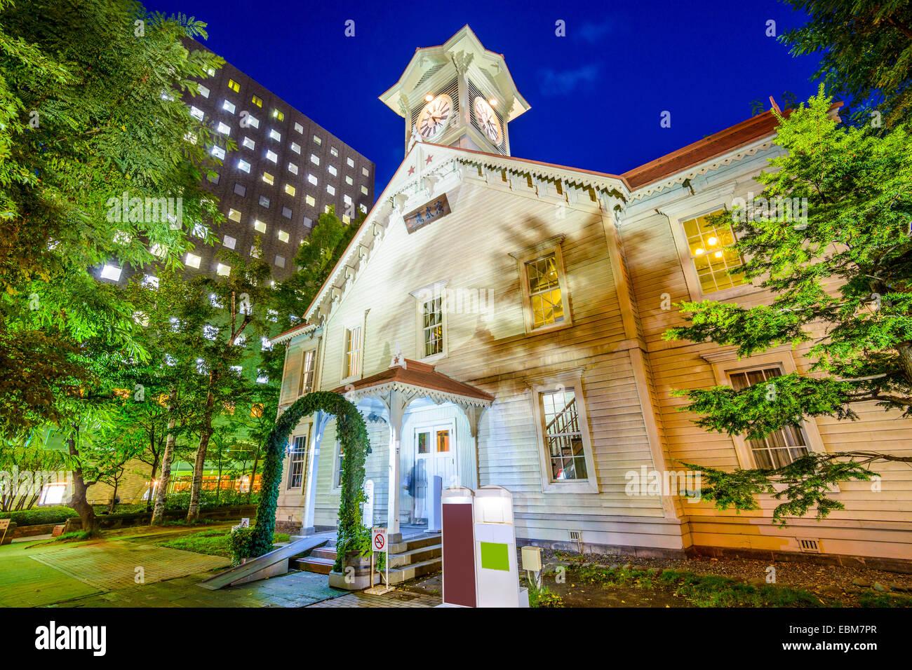 Sapporo, Japon au Sapporo chronomètrent la tour. Photo Stock
