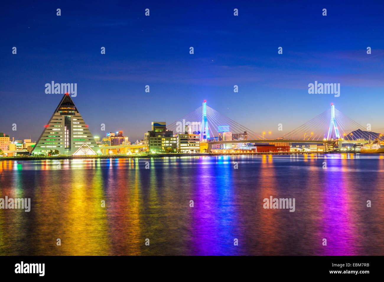 La Ville d'Aomori, la Préfecture d'Aomori, Japon night skyline. Photo Stock