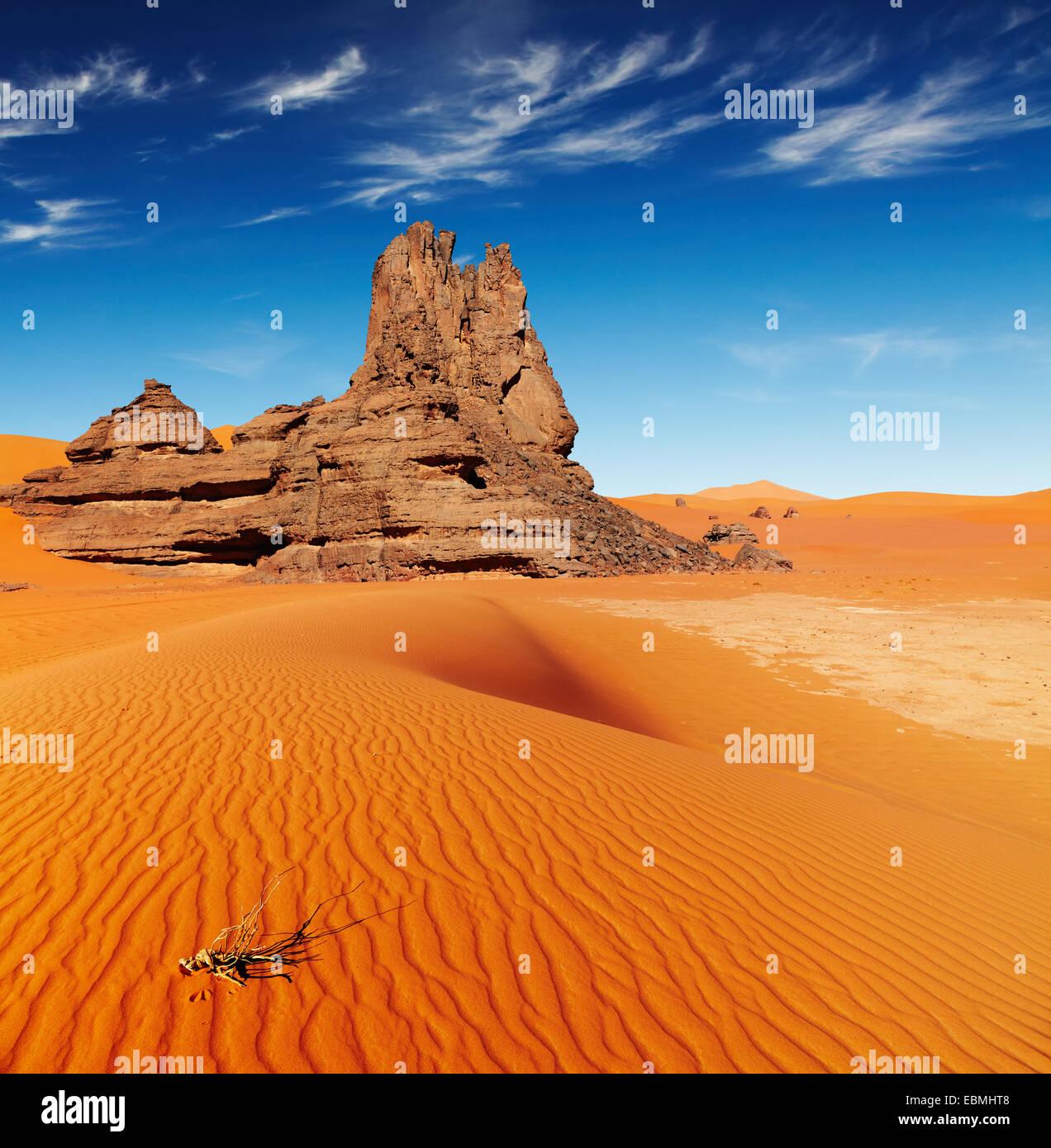 Dunes de sable et rochers, désert du Sahara, l'Algérie Banque D'Images