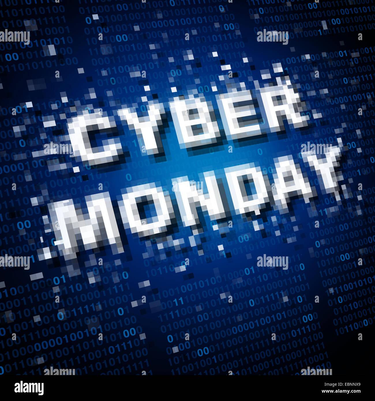 Vente Cyber Monday, icône et symbole de marketing comme un concept de vente de publicité en ligne pour Photo Stock