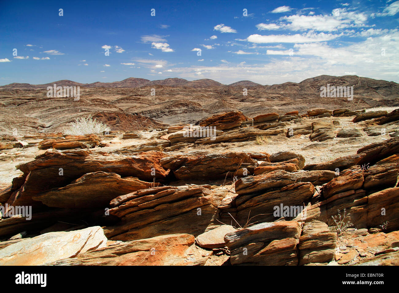 Paysage des montagnes Rocheuses, la Namibie, le Parc National Namib Naukluft, Canyon Kuiseb Photo Stock