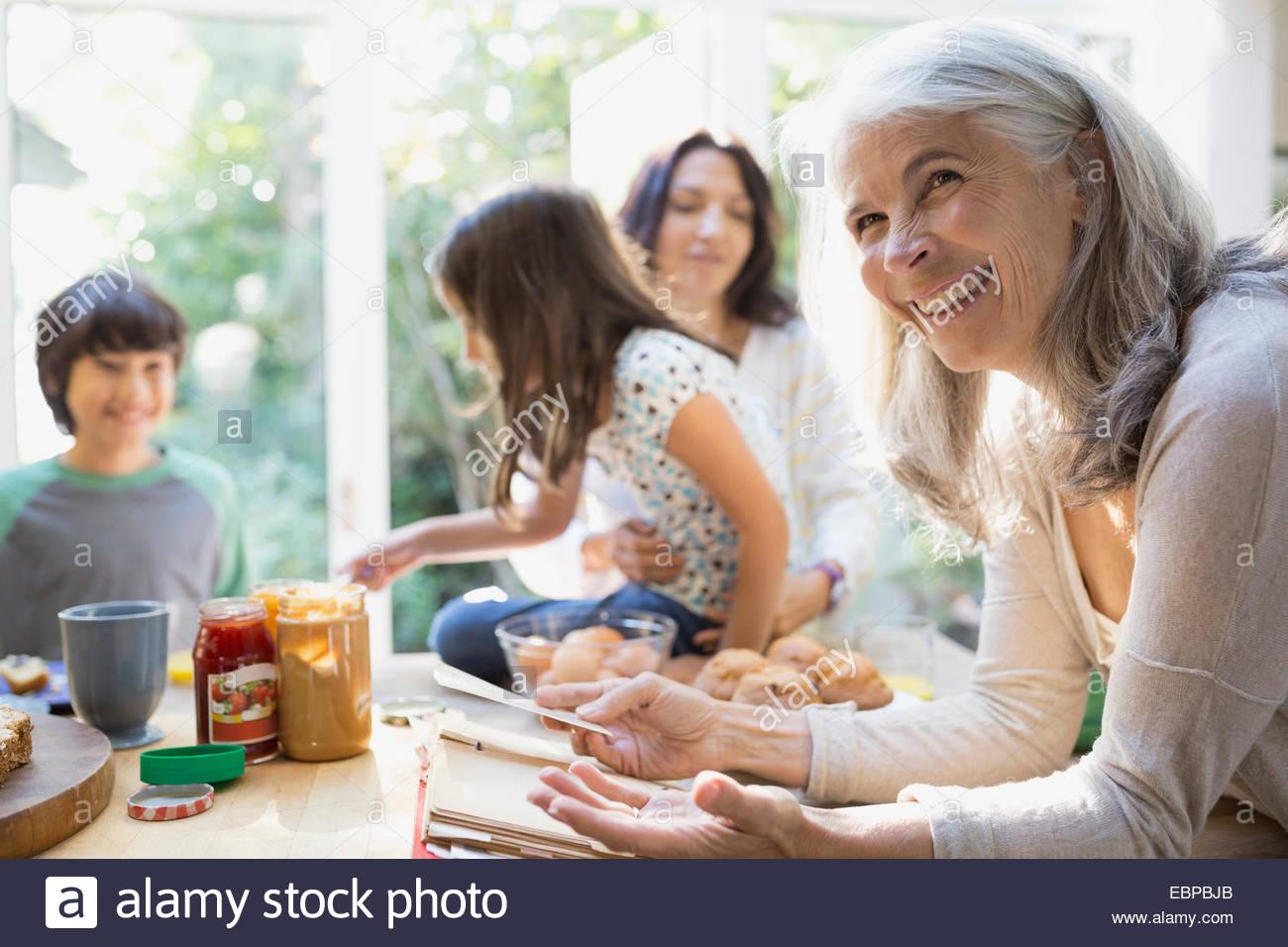 Multi-generation family in kitchen Photo Stock