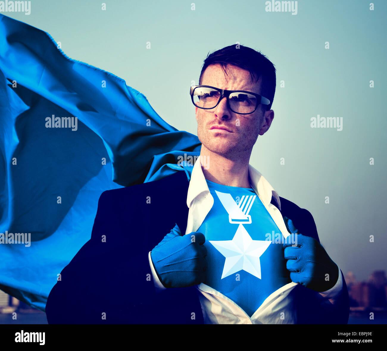Forte du succès de la médaille de super-héros l'habilitation professionnelle Concept Stock Photo Stock