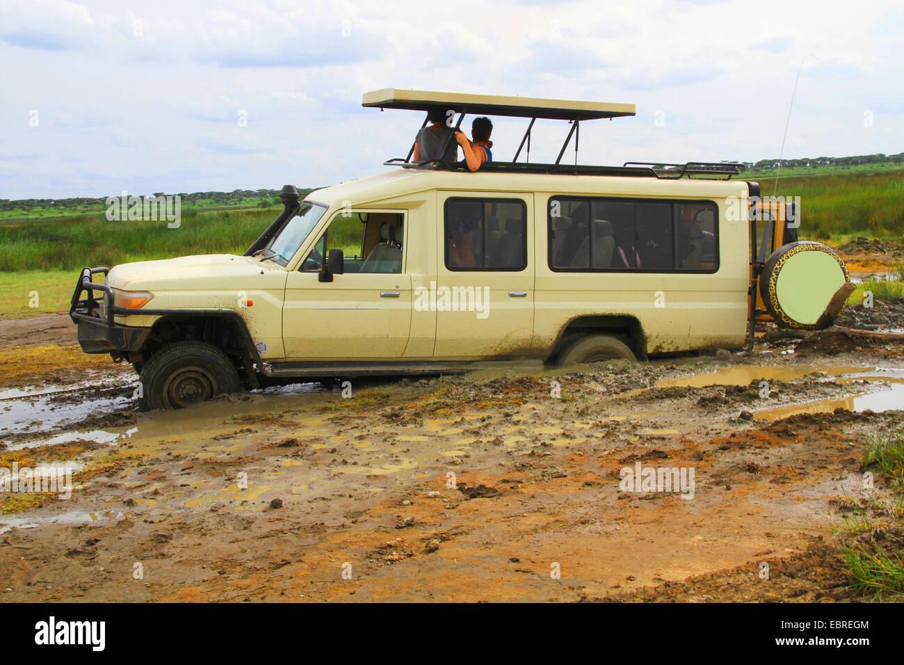 Voiture rapide safari bloqué dans la boue, des touristes en attente d'aide, la Tanzanie, le Parc National Photo Stock