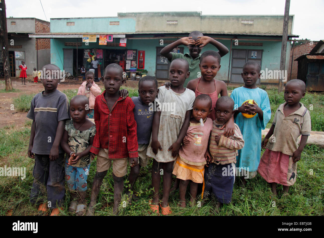 Groupe d'enfants africains, l'Ouganda Photo Stock