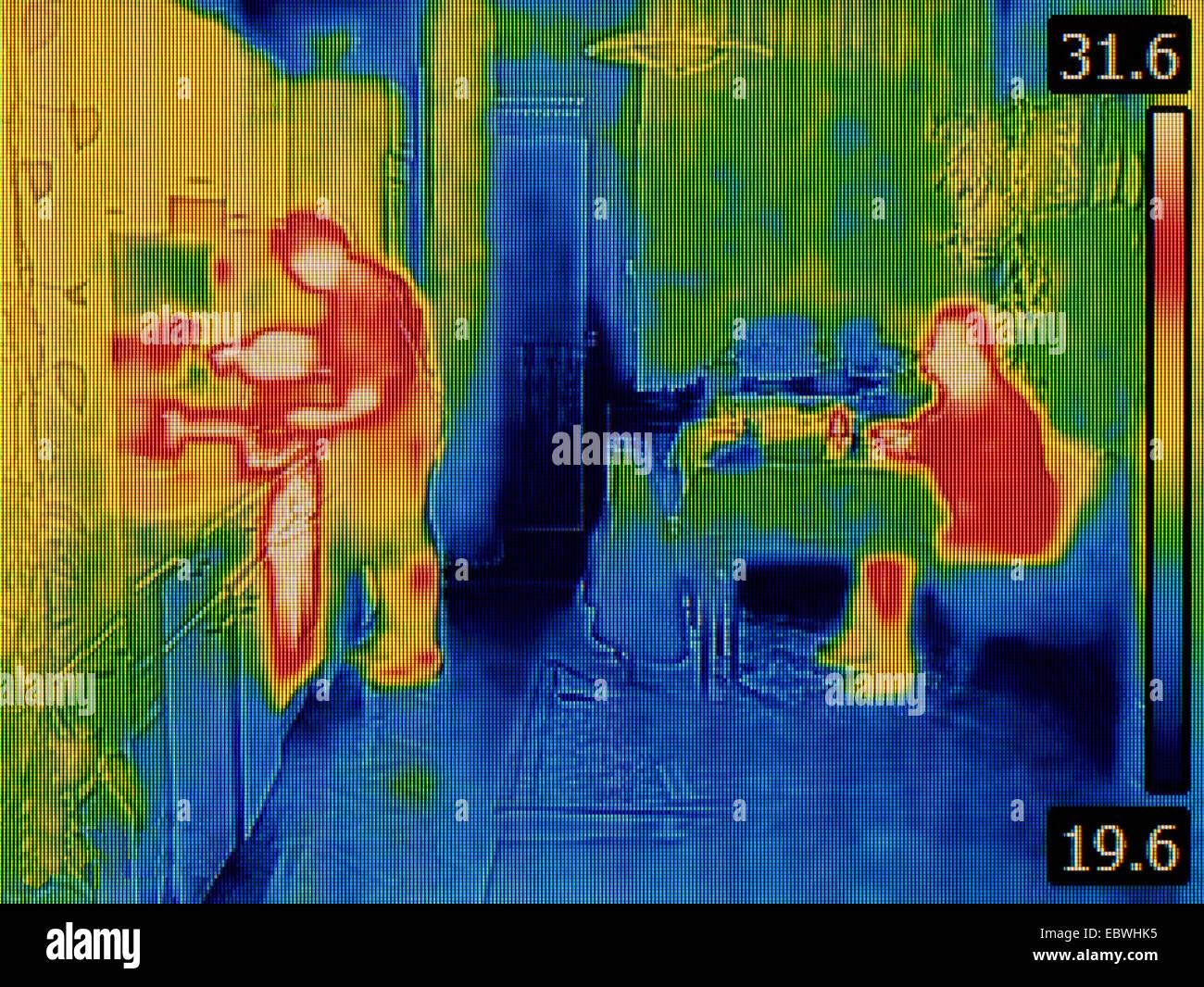 La chaleur du corps de l'image thermique Distribution Photo Stock