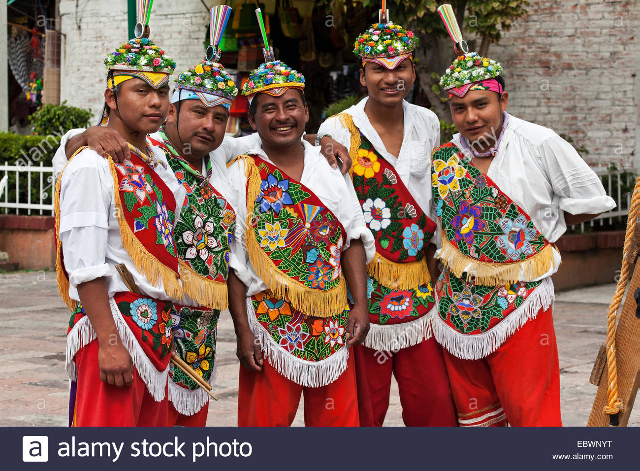Voladores, flying dancers, Xochimilco, Mexico, District Fédéral, Mexique Photo Stock