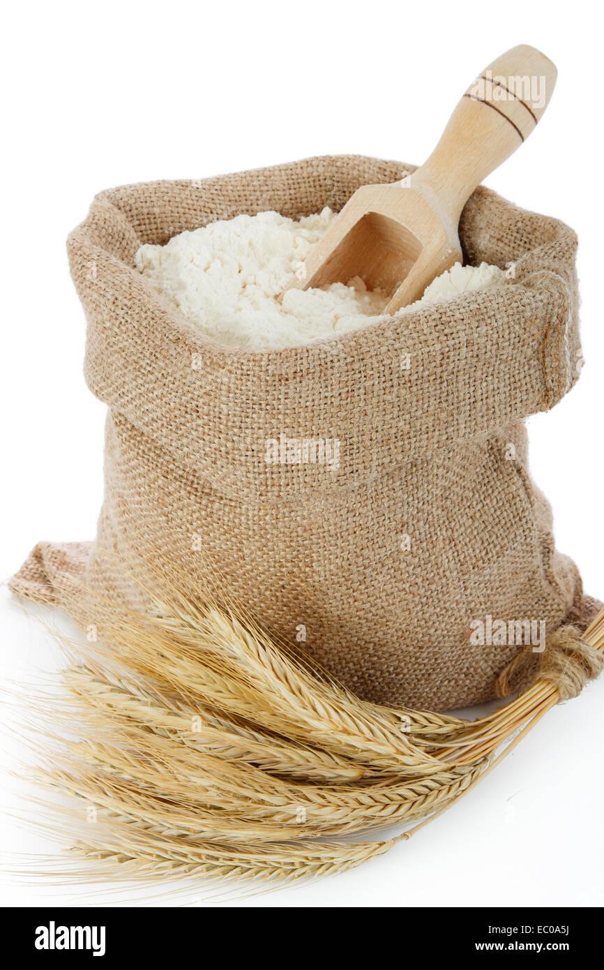 La farine de seigle et spike en sac de toile Photo Stock
