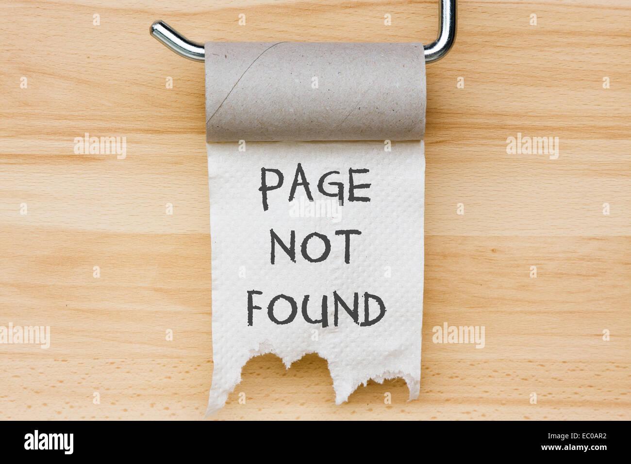 Page non trouvée. Papier toilette comme message web Photo Stock