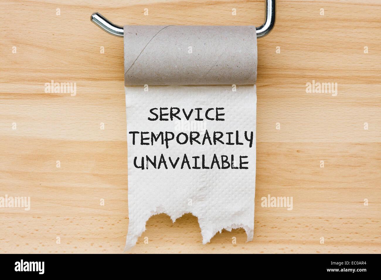 Service temporairement indisponible. Papier toilette comme message web Photo Stock